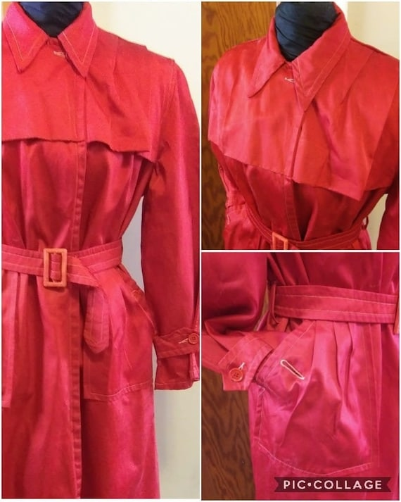 Rare 40s Red Trench Coat | Silken Blend Late 40s T