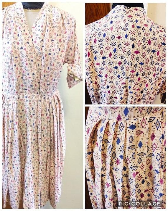 Vintage 50s Rayon Dress   Authentic Handmade 50s P