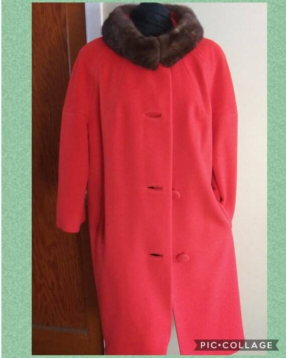 Vintage 60s Lilli Ann Coat | Stunning Warm Red Woo