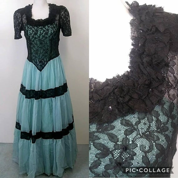 Vintage 40s Gown | Expertly Handmade Aqua and Blac