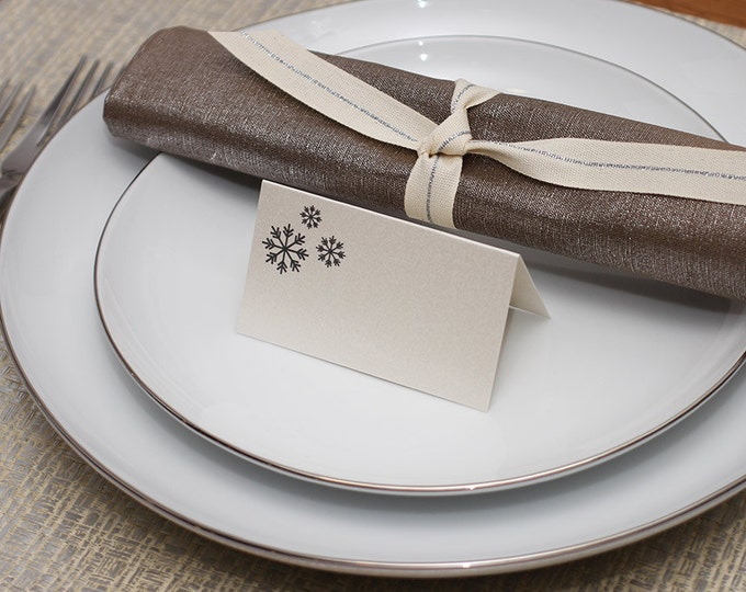 snowflakes place cards - shimmer