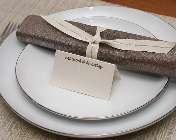eat drink be merry place cards - shimmer