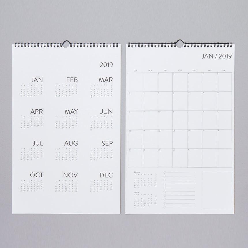 12 Month Wall Calendar 2019