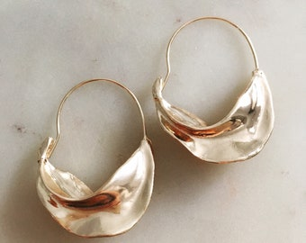 Fulani earrings, gold Fulani hoops,swirl large hoops, gold large celine hoop earrings,chunky basket hoops ,Fulani gold earrings, 18k gold