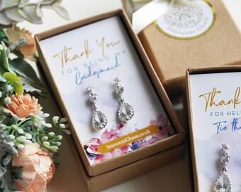 Bridesmaid gift, earrings gift, crystal drop earrings, Be my bridesmaid, white gold earring, austrian crystal, rhinestone earring