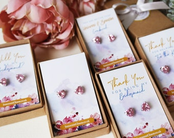 Pink earrings, Small heart earrings, gift for her, bridesmaid proposal, heart jewellery, bridesmaid gift, crystal earrings, wedding earrings
