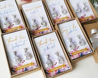 Statement earring, white Gold drop earring, bridesmaid earring set, crystal drop earring, rhinestone earring, dangle earring