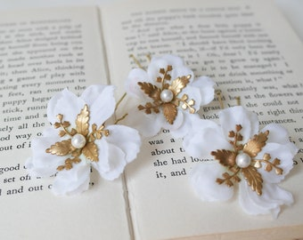 Ivory and gold pin, bridesmaid hair pin, petal hair pin, petal clip, flower clip set, set of three, white wedding hair, flower bobby pin set