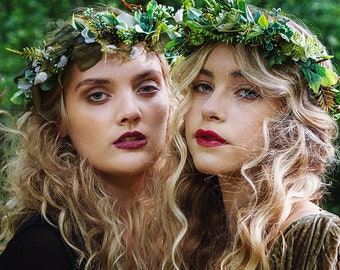 Green flower crown, boho flower crown, wedding halo, floral crown, hair vine, woodland wedding crown, leafy crown, leaf crown, woodland halo