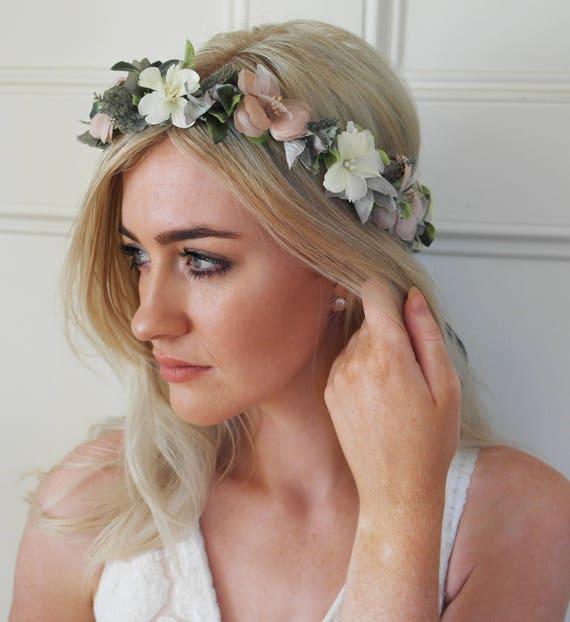 Blush crown wedding crown bridal flower crown hair crown  e87a004f4d2