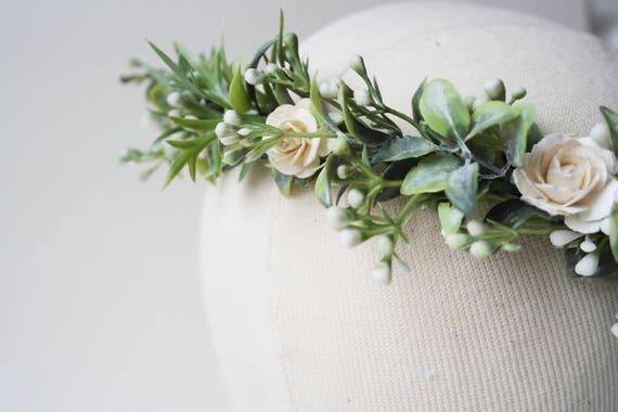 boho headpiece Babies breath crown floral crown flower girl crown green floral crown snow crown leaf crown first communion