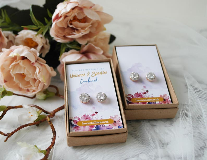 asking bridesmaid thank you gift Classic earring bridesmaid gift gold stud rhinestone earring gift for her mum gift crystal earring