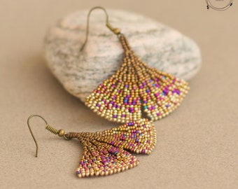 Beadwoven Gingko Leaf Earrings