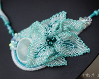 Asymetric Bead Embroidered Necklace Drop with Aquamarine Cabochon