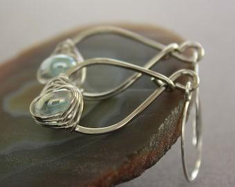 Pear shape silver earrings with aquamarine color lampwork glass - Long drop earrings, Aquamarine earrings - Drop earrings - ER042