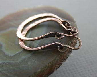 Hammered hoop copper earrings - Hoop earrings - Large hoop earrings - Circle earrings - Round earrings - Trendy earrings ER086