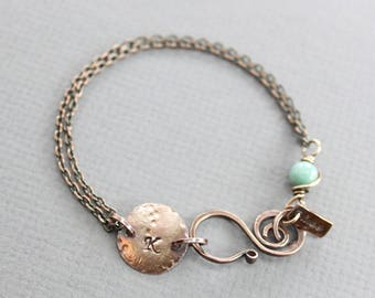 Copper personalized initial bracelet with larimar stone - Tag bracelet - Copper bracelet - Name bracelet - Personalized bracelet - BR001