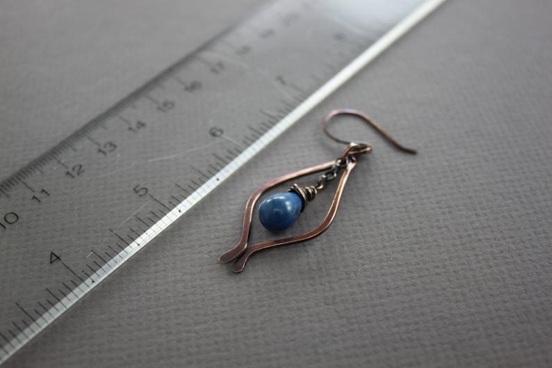 ER030 Drop earrings Chandelier earrings Marquise lapis lazuli copper earrings with indigo blue lapis lazuli teardrop stones