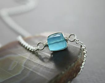 Solitaire sterling silver necklace with aqua blue color chalcedony cube shape stone, Gemstone necklace, Trendy necklace, Minimalist - NK062