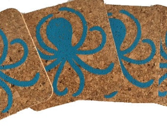 Octopus-turquoise/party/bbq/hostess gift:cork/Coastal Cork Coasters - Set of 4