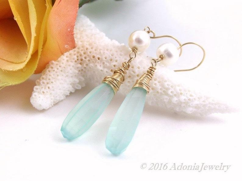 Long Seafoam Chalcedony Earrings 14k Gold Earrings AdoniaJewelry AJE900 Pearl Earrings