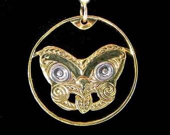 Cut Coin Jewelry - Earrings - New Zealand - Maori Mask Koruru