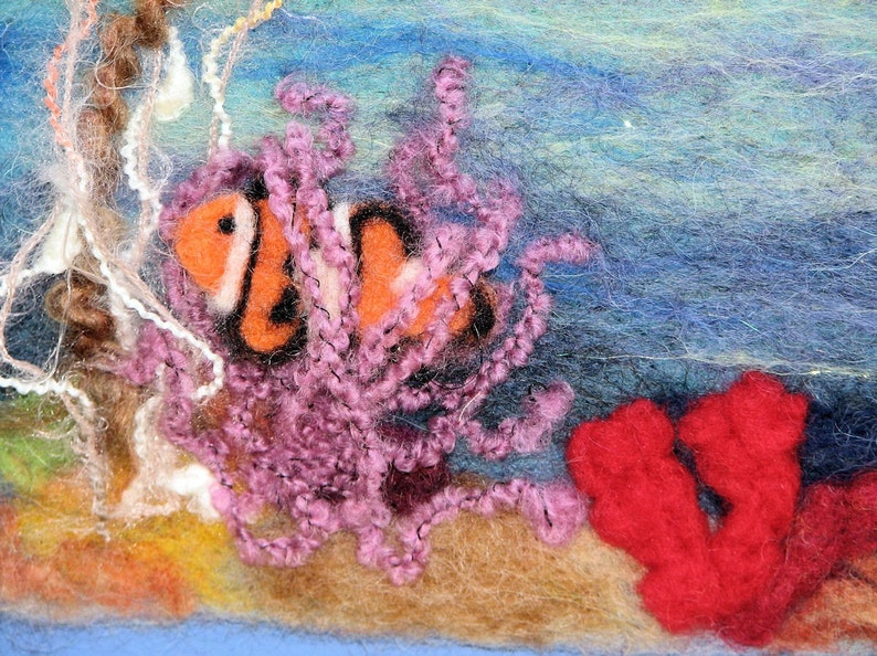 purple seaweed wool painting beach art ocean scene blue Under The Sea Needle Felted Painting With Clown Fish and Coral suede mat