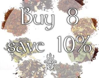Buy 8 Teas, Save 10% - loose leaf tea, discount tea, tea gift