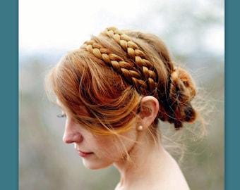 "1/"" Wide Fishtail Braided Holly Green Elastic Headband Wig Cosplay Accessory"