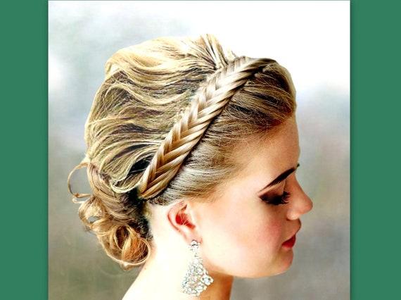 fishtail herringbone braid hair braided headband elastic  0d201cf43bb