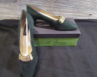 202fccf5471 Vintage NEW Sesto Meucci Green Suede Heels Pumps Shoes - Size 9 - made in  Italy