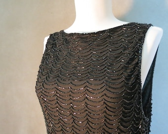 Black Silk Beaded Blouse (Marina by Marina Bresler) - Size Large L