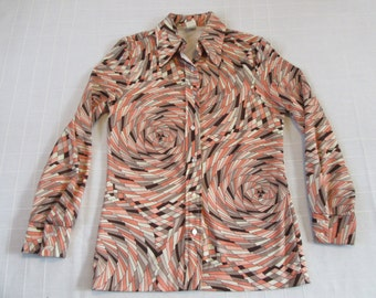 Retro Vintage Shirt Top Blouse Women's Size S Small Hippie Boho Style with Psychedelic Pattern