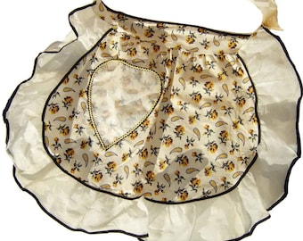 Vintage Kitchen Apron Yellow Floral Cotton & Chiffon