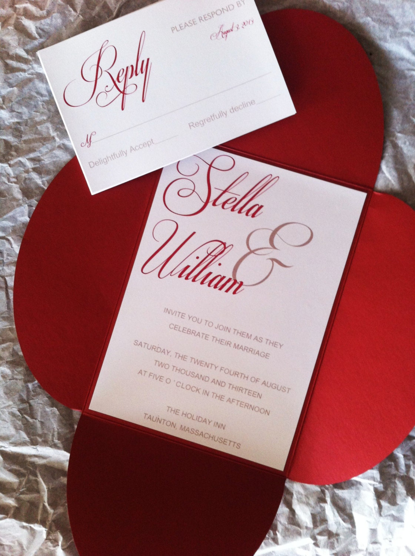 Modern Script Petal Fold Pocket Wedding Invitation with Reply | Etsy