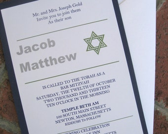 Bar Mitzvah Invitation with Reply card