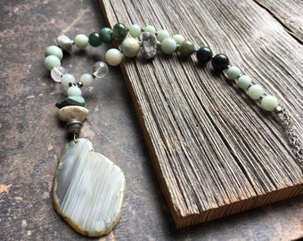 River Walk, Freeform Agate Slice with Amazonite Bead Necklace, Shades of Green Nature Jewelry, Agate Slice Pendant
