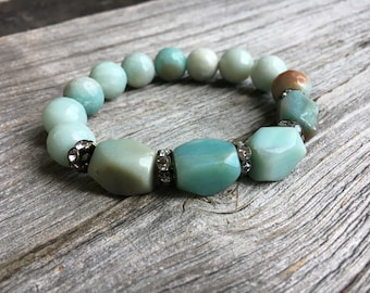 Green Amazonite Bead Bracelet, Amazonite Nugget Stretch Bracelet, Boho Jewelry