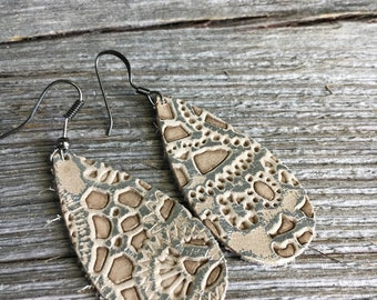 Leather Teardrop Earrings, Metallic and Tan Embossed Boho Style Earrings