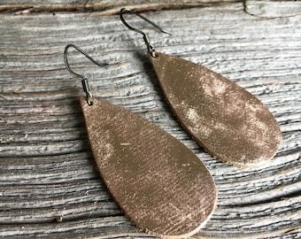Leather Teardrop Earrings, Metallic Copper Boho Style Earrings