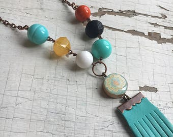 Cabana Necklace - Vintage Lucite Bead Necklace - Tassel and Vintage Bingo Game Piece, Repurposed Jewelry