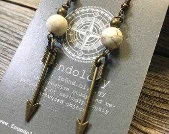 Bronze Arrow and Howlite Bead Earrings - Dangle Arrow Earrings