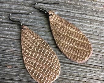 Leather Teardrop Earrings, Textured Metallic Copper Boho Style Earrings