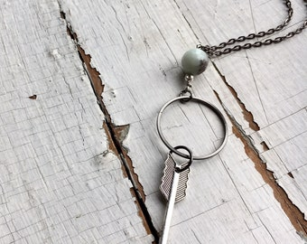 Silver Arrow and Green Amazonite Bead Necklace