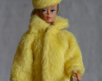 Vintage Barbie Clone Glamorous White Fur Coat Hat Outfit