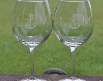 We Tied the Knot Theme Wedding Favors Personalized Glassware Set of 12 Personalized 9 oz Nautical Rope Design Stemless Wine Glasses