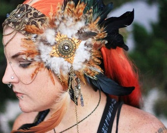 Brown and antique bronze chain and Feather Headpiece