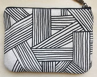 Tumbled Screen Printed Pouch -- Black