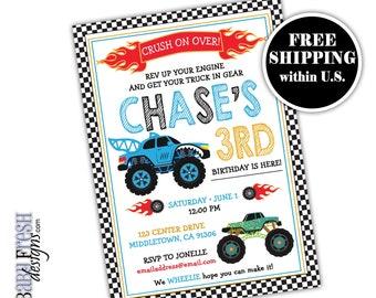 Monster Truck Invite Etsy