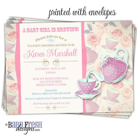 Tea Pot Baby Shower Tea Party Invitation Baby Shower Tea Cup Etsy